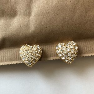 Swarovski Crystal Pave Heart Earrings Clip On Gold
